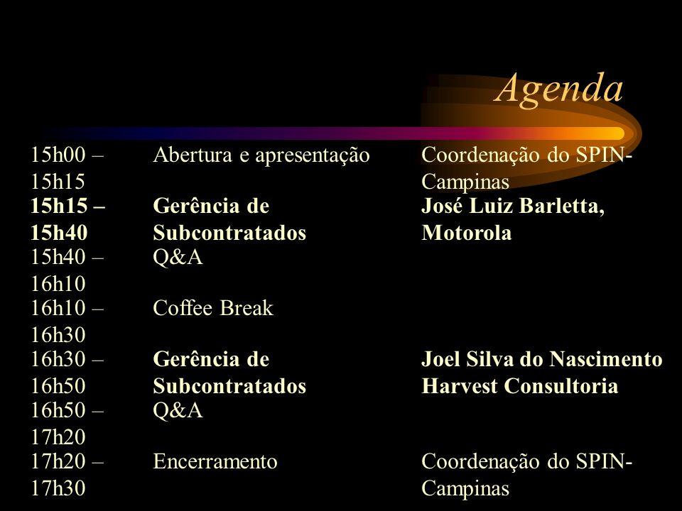 Agenda 15h00 – 15h15 Abertura e apresentaçãoCoordenação do SPIN- Campinas 15h15 – 15h40 Gerência de Subcontratados José Luiz Barletta, Motorola 15h40 – 16h10 Q&A 16h10 – 16h30 Coffee Break 16h30 – 16h50 Gerência de Subcontratados Joel Silva do Nascimento Harvest Consultoria 16h50 – 17h20 Q&A 17h20 – 17h30 EncerramentoCoordenação do SPIN- Campinas