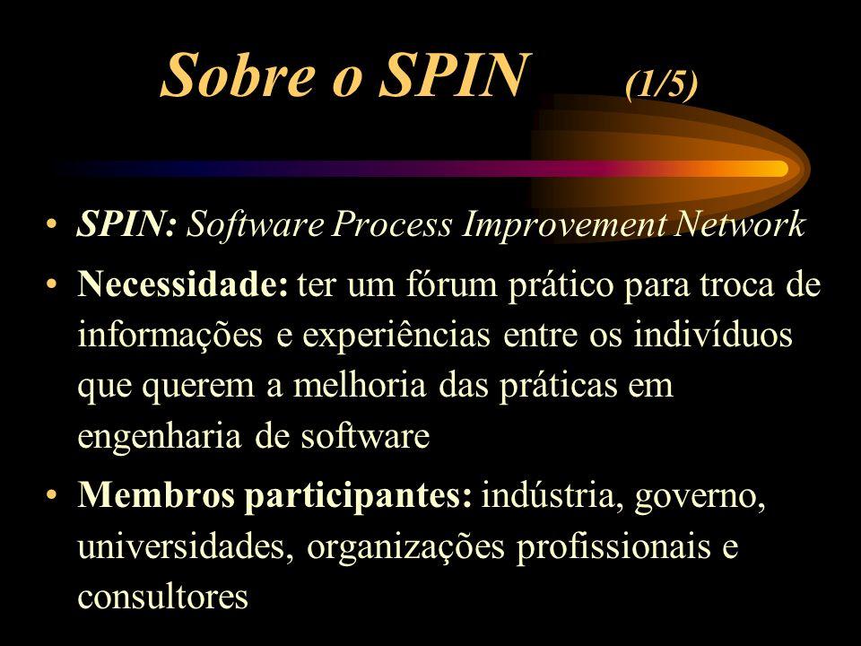 Sobre o SPIN (1/5) SPIN: Software Process Improvement Network Necessidade: ter um fórum prático para troca de informações e experiências entre os indivíduos que querem a melhoria das práticas em engenharia de software Membros participantes: indústria, governo, universidades, organizações profissionais e consultores