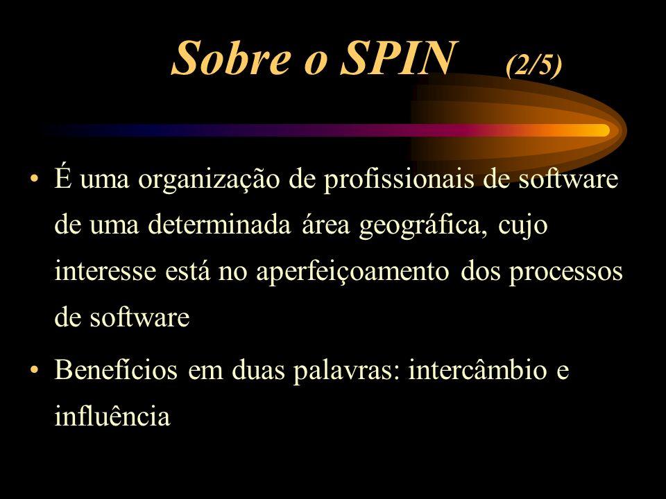 Sobre o SPIN (2/5) É uma organização de profissionais de software de uma determinada área geográfica, cujo interesse está no aperfeiçoamento dos proce