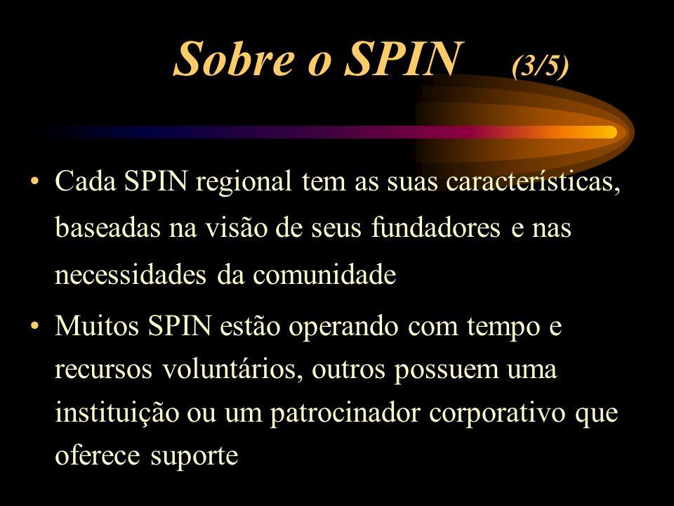 Cada SPIN regional tem as suas características, baseadas na visão de seus fundadores e nas necessidades da comunidade Muitos SPIN estão operando com tempo e recursos voluntários, outros possuem uma instituição ou um patrocinador corporativo que oferece suporte Sobre o SPIN (3/5)