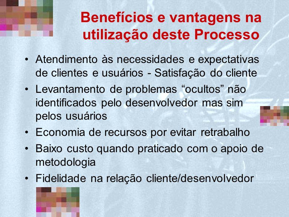 Benefícios e vantagens na utilização deste Processo Atendimento às necessidades e expectativas de clientes e usuários - Satisfação do cliente Levantam