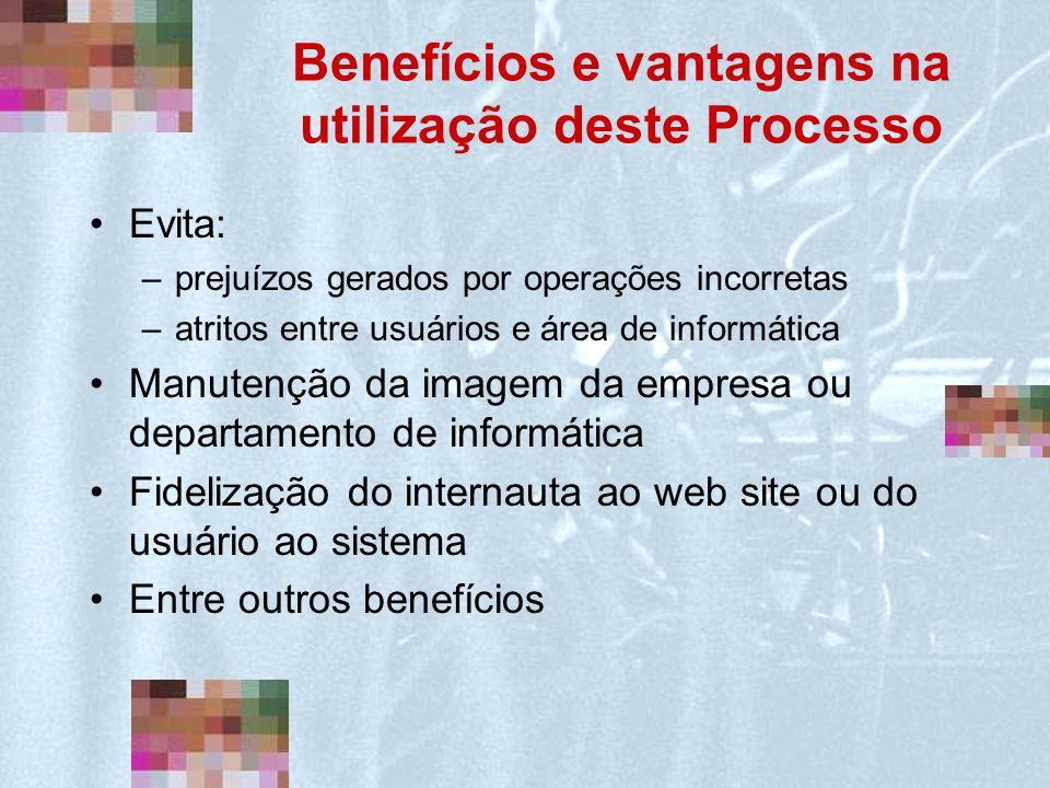 Benefícios e vantagens na utilização deste Processo Evita: –prejuízos gerados por operações incorretas –atritos entre usuários e área de informática M