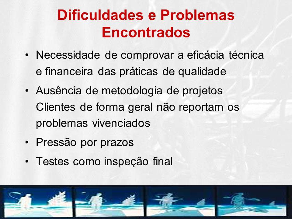 Dificuldades e Problemas Encontrados Necessidade de comprovar a eficácia técnica e financeira das práticas de qualidade Ausência de metodologia de pro