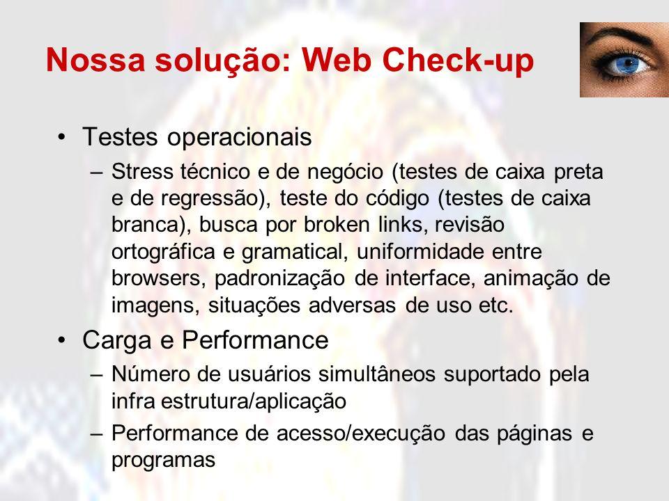 Testes operacionais –Stress técnico e de negócio (testes de caixa preta e de regressão), teste do código (testes de caixa branca), busca por broken li