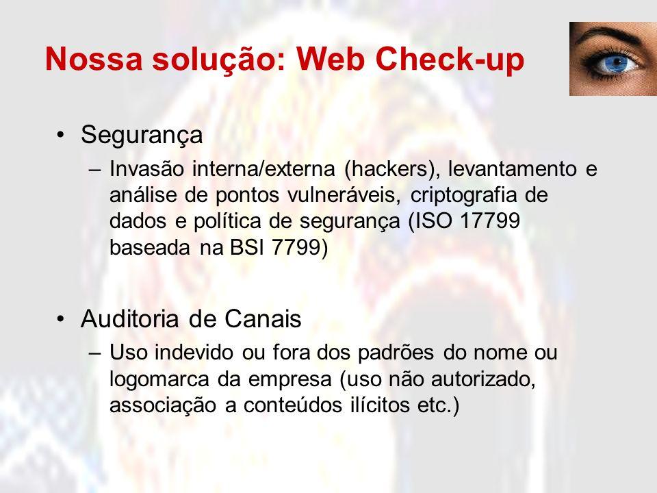 Nossa solução: Web Check-up Selo de Privacidade –Privacidade dos dados cadastrais/pessoais capturados pela aplicação/site Pesquisa de mercado –Avaliação das impressões de um determinado público alvo quanto a satisfação, facilidade, identificação do site operado