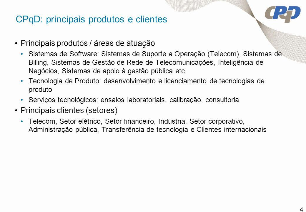 4 CPqD: principais produtos e clientes Principais produtos / áreas de atuação Sistemas de Software: Sistemas de Suporte a Operação (Telecom), Sistemas