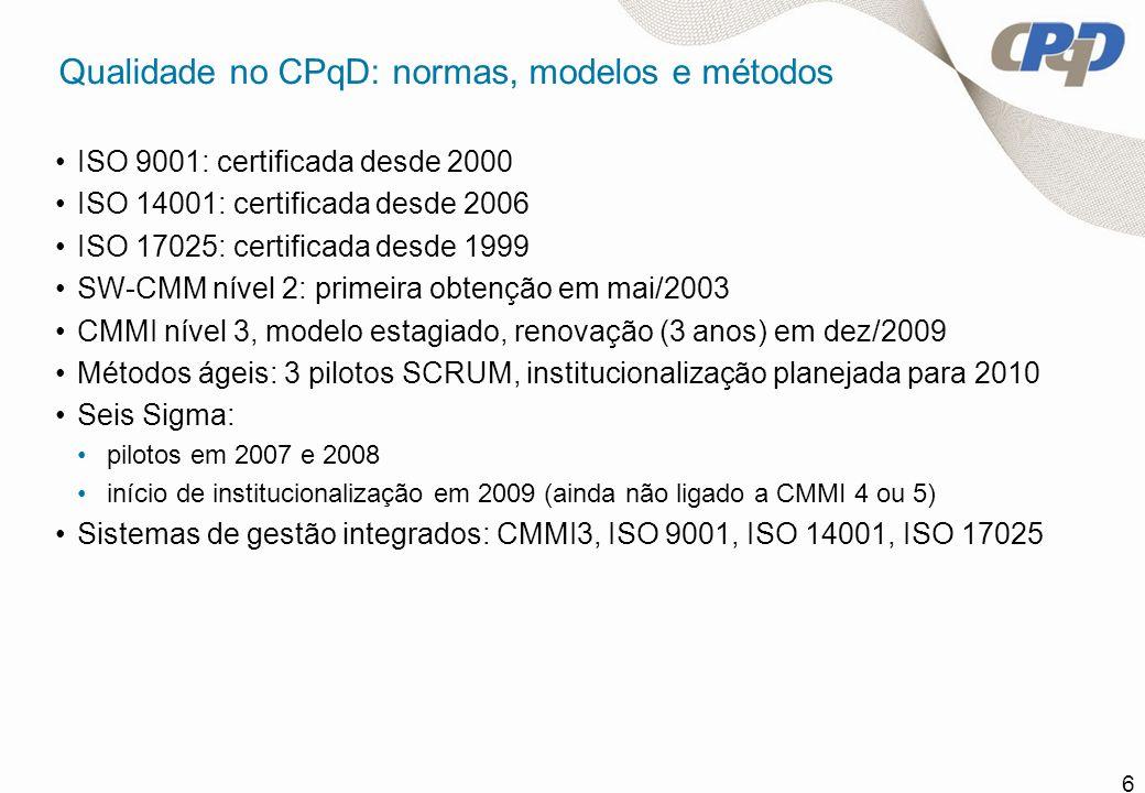 6 Qualidade no CPqD: normas, modelos e métodos ISO 9001: certificada desde 2000 ISO 14001: certificada desde 2006 ISO 17025: certificada desde 1999 SW
