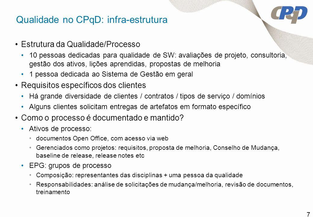 7 Qualidade no CPqD: infra-estrutura Estrutura da Qualidade/Processo 10 pessoas dedicadas para qualidade de SW: avaliações de projeto, consultoria, ge