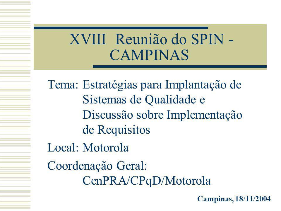 XVIII Reunião do SPIN - CAMPINAS Tema: Estratégias para Implantação de Sistemas de Qualidade e Discussão sobre Implementação de Requisitos Local: Motorola Coordenação Geral: CenPRA/CPqD/Motorola Campinas, 18/11/2004