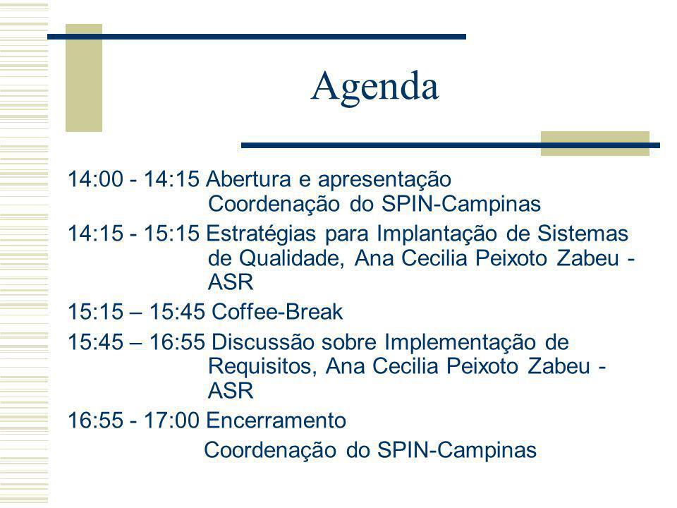Agenda 14:00 - 14:15 Abertura e apresentação Coordenação do SPIN-Campinas 14:15 - 15:15 Estratégias para Implantação de Sistemas de Qualidade, Ana Cecilia Peixoto Zabeu - ASR 15:15 – 15:45 Coffee-Break 15:45 – 16:55 Discussão sobre Implementação de Requisitos, Ana Cecilia Peixoto Zabeu - ASR 16:55 - 17:00 Encerramento Coordenação do SPIN-Campinas