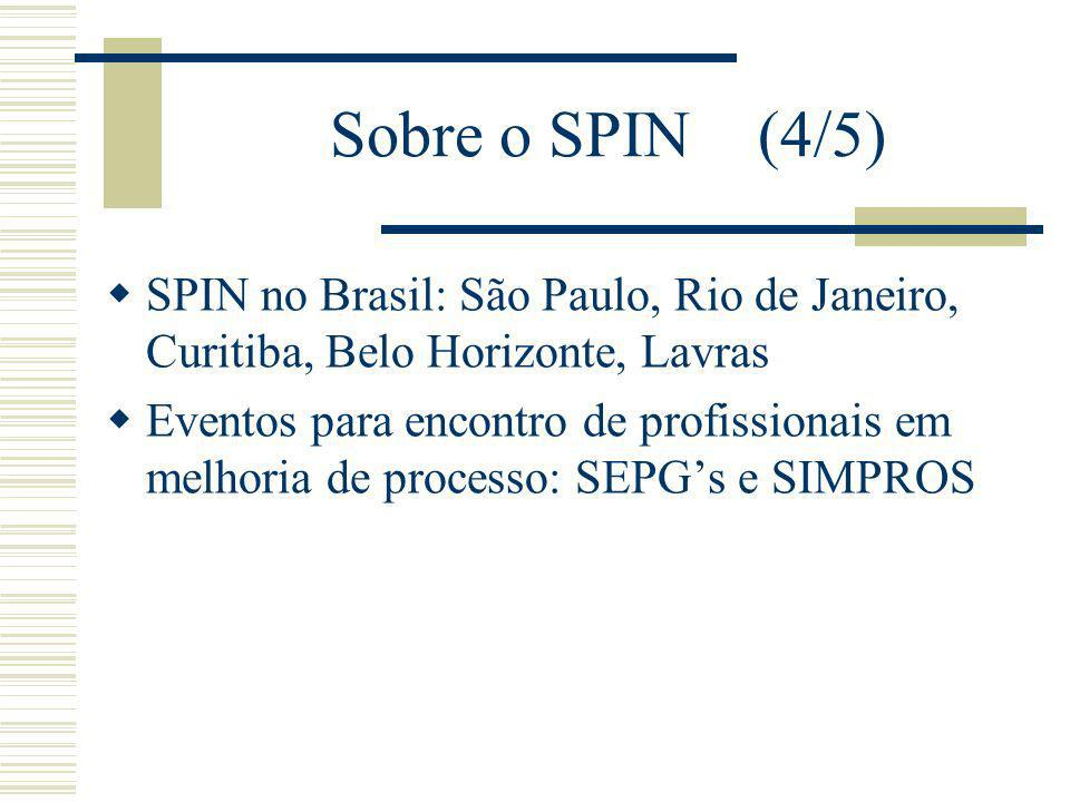 Sobre o SPIN (4/5) SPIN no Brasil: São Paulo, Rio de Janeiro, Curitiba, Belo Horizonte, Lavras Eventos para encontro de profissionais em melhoria de processo: SEPGs e SIMPROS