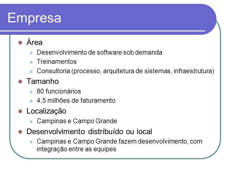 Empresa Área Desenvolvimento de software sob demanda Treinamentos Consultoria (processo, arquitetura de sistemas, infraestrutura) Tamanho 80 funcionár