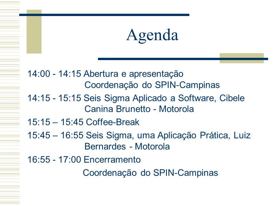 Agenda 14:00 - 14:15 Abertura e apresentação Coordenação do SPIN-Campinas 14:15 - 15:15 Seis Sigma Aplicado a Software, Cibele Canina Brunetto - Motor