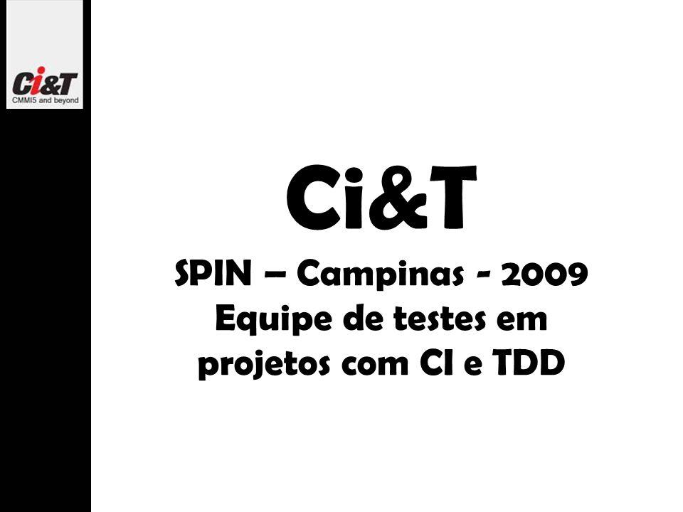 Ci&T SPIN – Campinas - 2009 Equipe de testes em projetos com CI e TDD