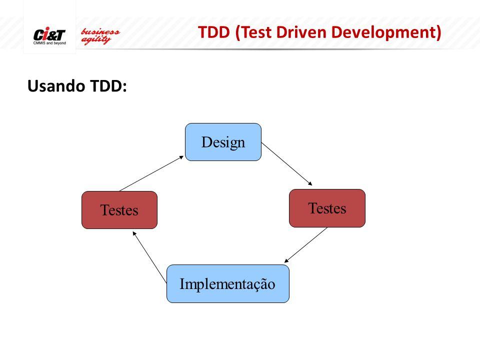 Usando TDD: Design Implementação Testes TDD (Test Driven Development)