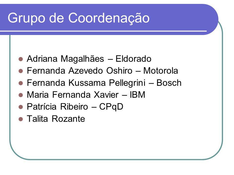 Grupo de Coordenação Adriana Magalhães – Eldorado Fernanda Azevedo Oshiro – Motorola Fernanda Kussama Pellegrini – Bosch Maria Fernanda Xavier – IBM P