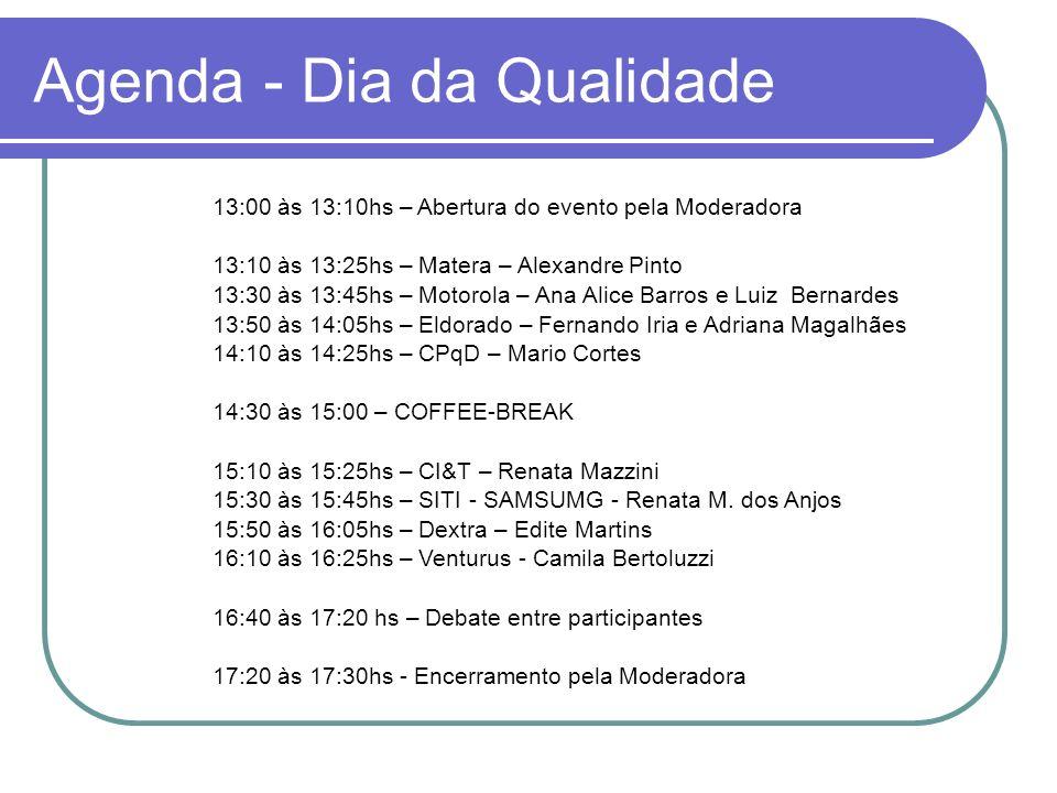 Agenda - Dia da Qualidade 13:00 às 13:10hs – Abertura do evento pela Moderadora 13:10 às 13:25hs – Matera – Alexandre Pinto 13:30 às 13:45hs – Motorol