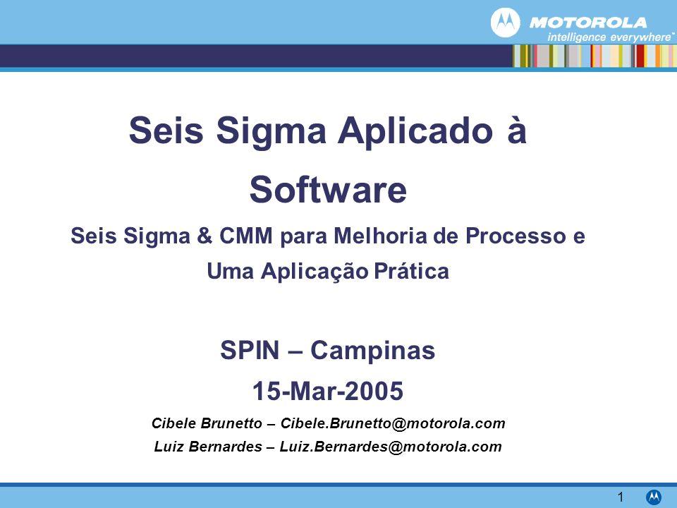 Motorola Confidential Proprietary 1 Seis Sigma Aplicado à Software Seis Sigma & CMM para Melhoria de Processo e Uma Aplicação Prática SPIN – Campinas