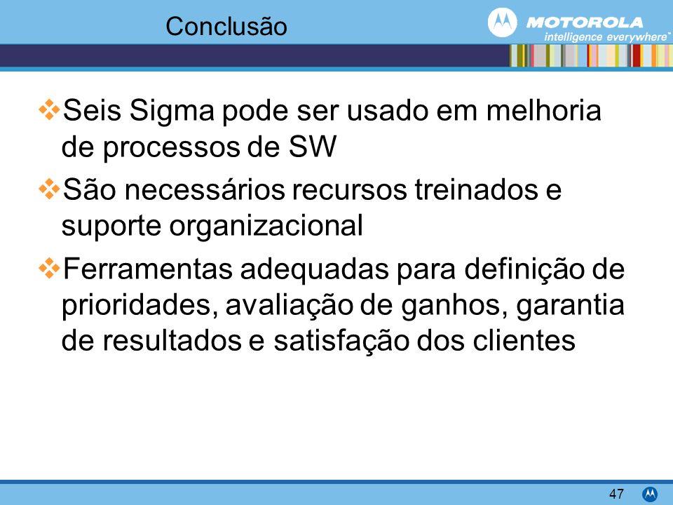 Motorola Confidential Proprietary 47 Conclusão Seis Sigma pode ser usado em melhoria de processos de SW São necessários recursos treinados e suporte organizacional Ferramentas adequadas para definição de prioridades, avaliação de ganhos, garantia de resultados e satisfação dos clientes