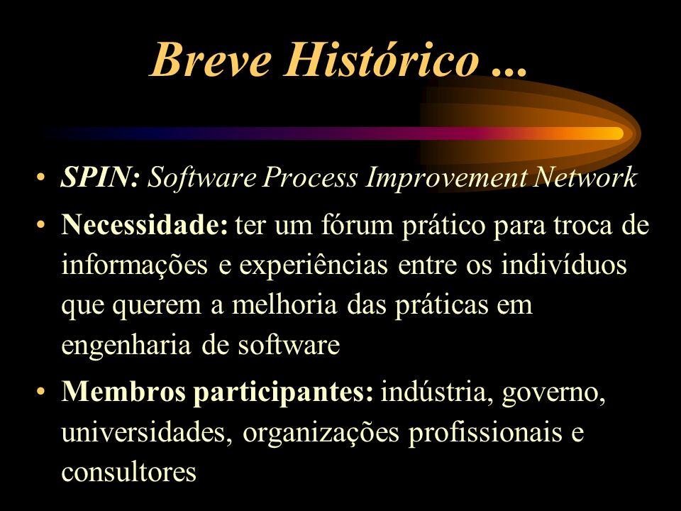 Sobre o SPIN (1/5) É uma organização de profissionais de software de uma determinada área geográfica, cujo interesse está no aperfeiçoamento dos processos de software Benefícios em duas palavras: intercâmbio e influência