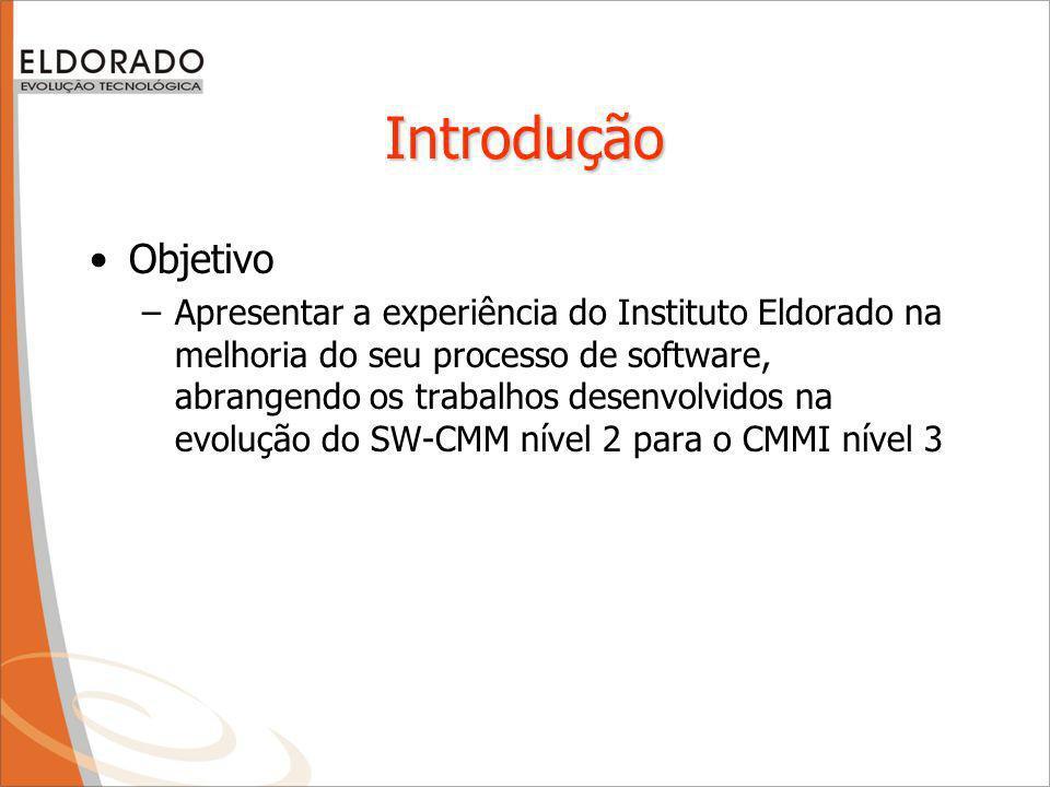 Introdução Objetivo –Apresentar a experiência do Instituto Eldorado na melhoria do seu processo de software, abrangendo os trabalhos desenvolvidos na evolução do SW-CMM nível 2 para o CMMI nível 3