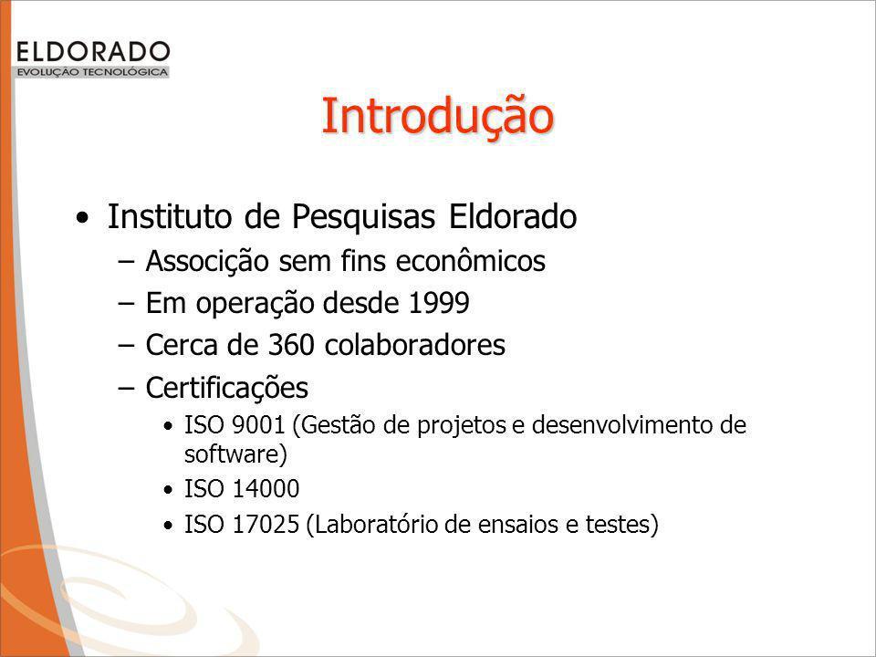 Introdução Instituto de Pesquisas Eldorado –Associção sem fins econômicos –Em operação desde 1999 –Cerca de 360 colaboradores –Certificações ISO 9001 (Gestão de projetos e desenvolvimento de software) ISO 14000 ISO 17025 (Laboratório de ensaios e testes)