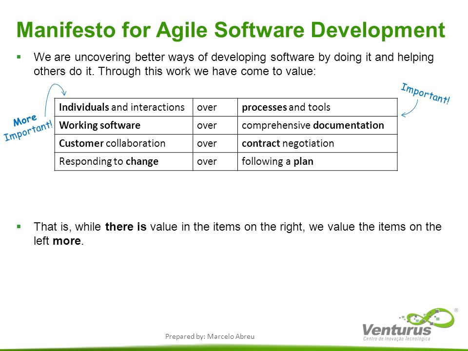 Prepared by: Marcelo Abreu Manifesto for Agile Software Development We are uncovering better ways of developing software by doing it and helping other