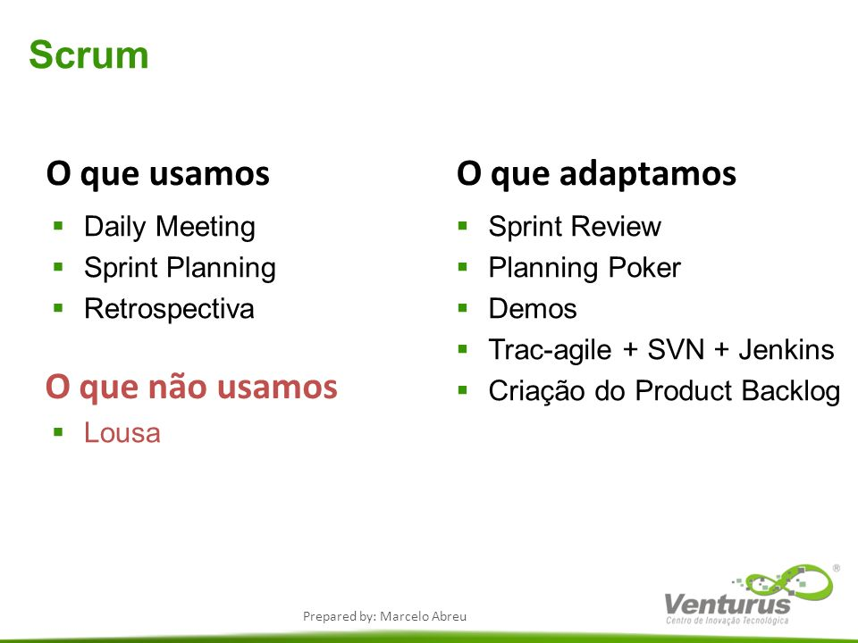 Prepared by: Marcelo Abreu Scrum O que usamos Daily Meeting Sprint Planning Retrospectiva Lousa O que não usamos Sprint Review Planning Poker Demos Tr