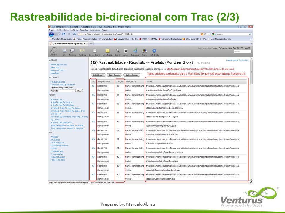 Prepared by: Marcelo Abreu Rastreabilidade bi-direcional com Trac (2/3)