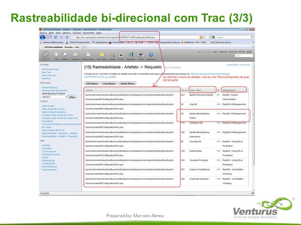 Prepared by: Marcelo Abreu Rastreabilidade bi-direcional com Trac (3/3)