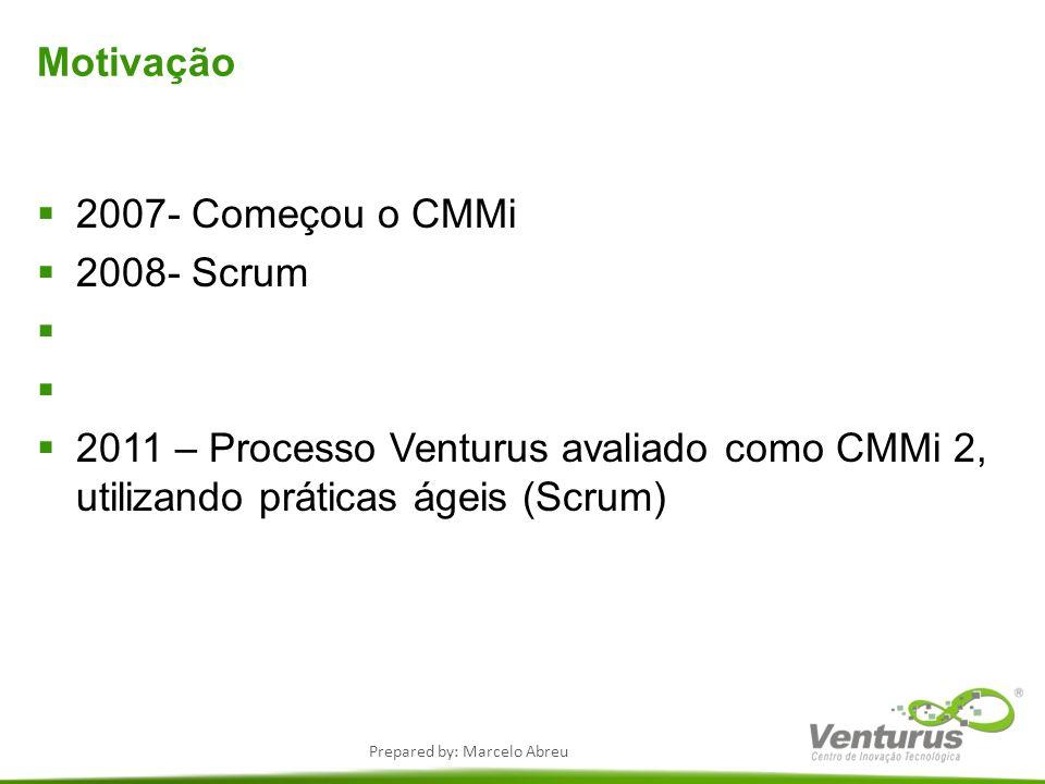 Prepared by: Marcelo Abreu Motivação 2007- Começou o CMMi 2008- Scrum 2011 – Processo Venturus avaliado como CMMi 2, utilizando práticas ágeis (Scrum)