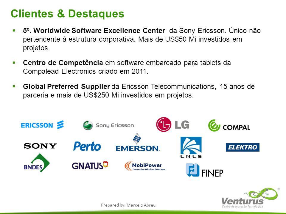 Prepared by: Marcelo Abreu Clientes & Destaques 5º. Worldwide Software Excellence Center da Sony Ericsson. Único não pertencente à estrutura corporati