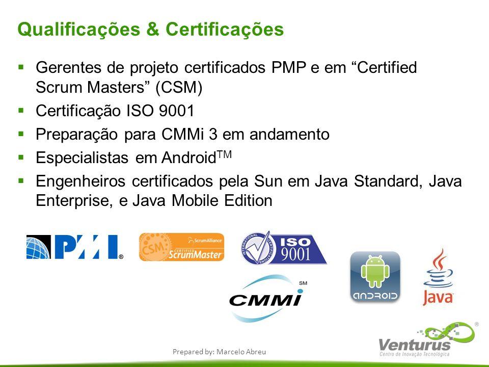Prepared by: Marcelo Abreu Qualificações & Certificações Gerentes de projeto certificados PMP e em Certified Scrum Masters (CSM) Certificação ISO 9001