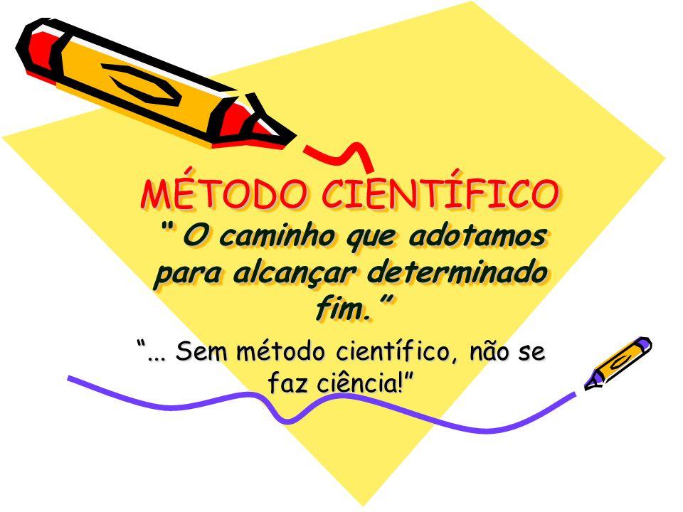MÉTODO CIENTÍFICO O caminho que adotamos para alcançar determinado fim.... Sem método científico, não se faz ciência!