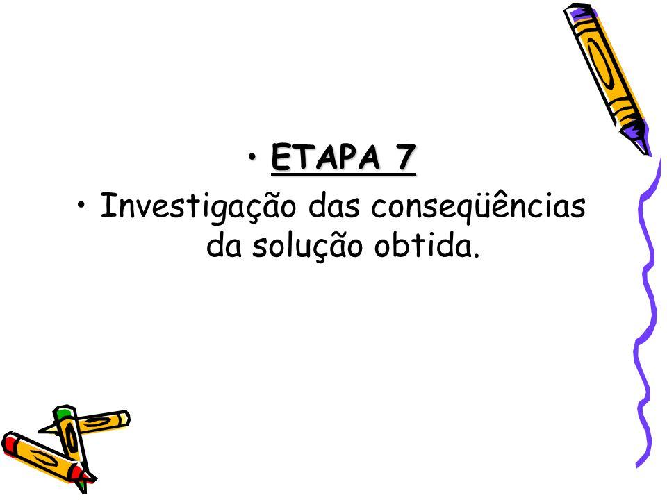 ETAPA 7ETAPA 7 Investigação das conseqüências da solução obtida.