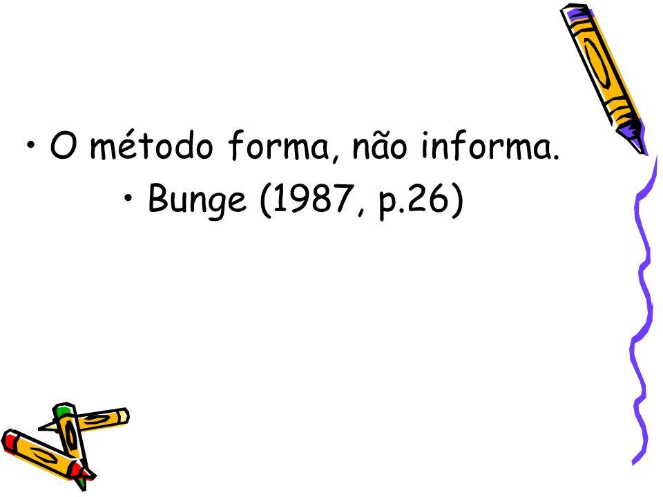 O método forma, não informa. Bunge (1987, p.26)