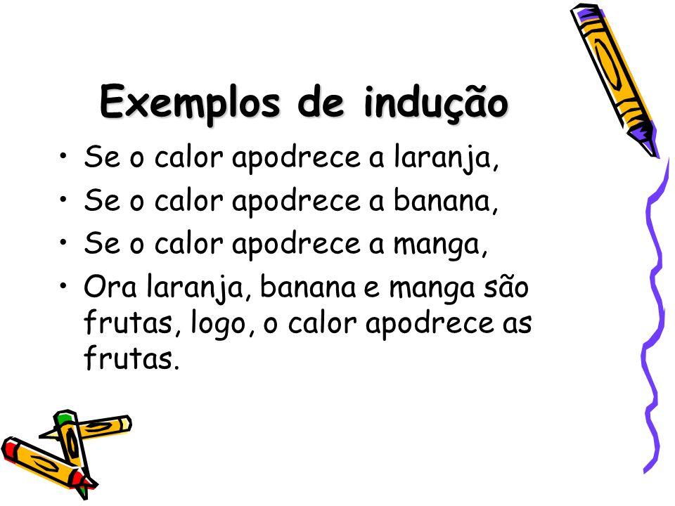 Exemplos de indução Se o calor apodrece a laranja, Se o calor apodrece a banana, Se o calor apodrece a manga, Ora laranja, banana e manga são frutas,