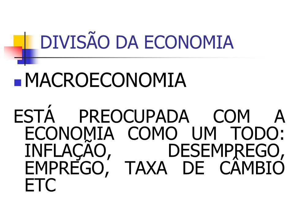 DIVISÃO DA ECONOMIA MACROECONOMIA ESTÁ PREOCUPADA COM A ECONOMIA COMO UM TODO: INFLAÇÃO, DESEMPREGO, EMPREGO, TAXA DE CÂMBIO ETC