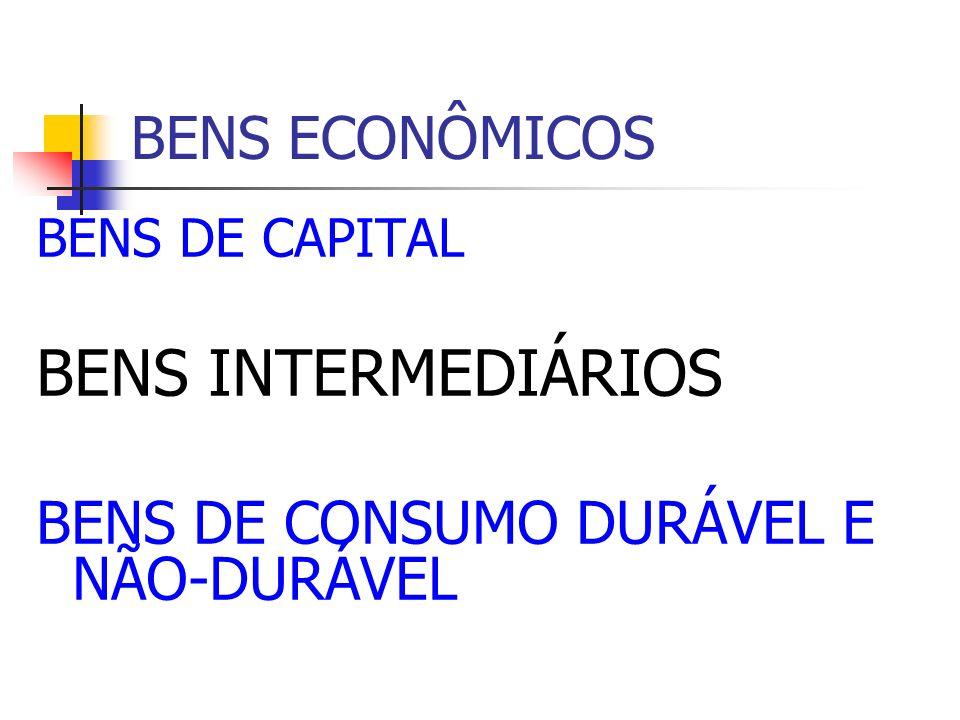 BENS ECONÔMICOS BENS DE CAPITAL BENS INTERMEDIÁRIOS BENS DE CONSUMO DURÁVEL E NÃO-DURÁVEL