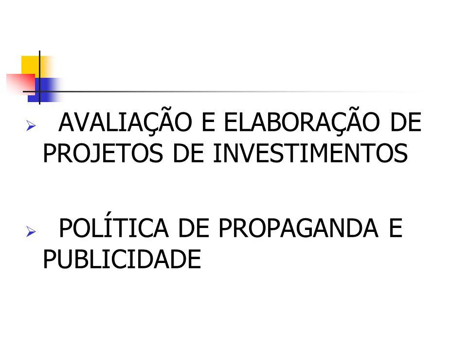 AVALIAÇÃO E ELABORAÇÃO DE PROJETOS DE INVESTIMENTOS POLÍTICA DE PROPAGANDA E PUBLICIDADE