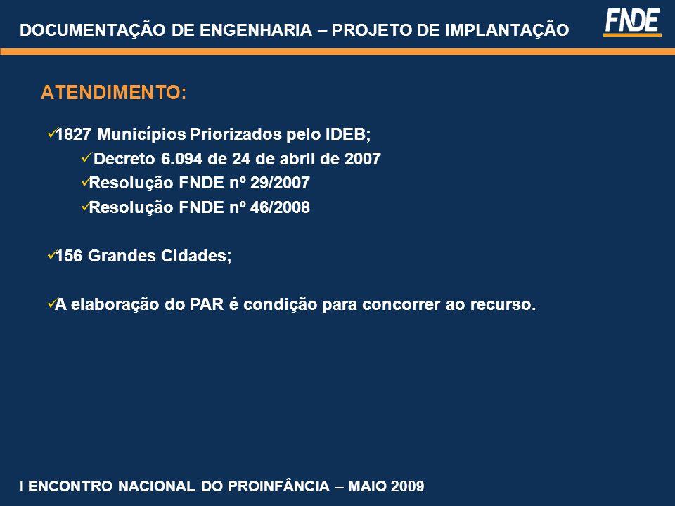 COORDENAÇÃO GERAL DE INFRA-ESTRUTURA EDUCACIONAL Contatos Tiago Lippold Radunz tiago.radunz@fnde.gov.br Fones: (61) 2022 – 4350 / 4351 Atendimento institucional: (61) 2022 - 4135 / 4877 / 4808 / 4165 E-mail:cgaap@fnde.gov.br DOCUMENTAÇÃO DE ENGENHARIA – PROJETO DE IMPLANTAÇÃO I ENCONTRO NACIONAL DO PROINFÂNCIA – MAIO 2009