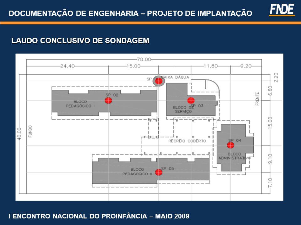 DOCUMENTAÇÃO DE ENGENHARIA – PROJETO DE IMPLANTAÇÃO I ENCONTRO NACIONAL DO PROINFÂNCIA – MAIO 2009 LAUDO CONCLUSIVO DE SONDAGEM