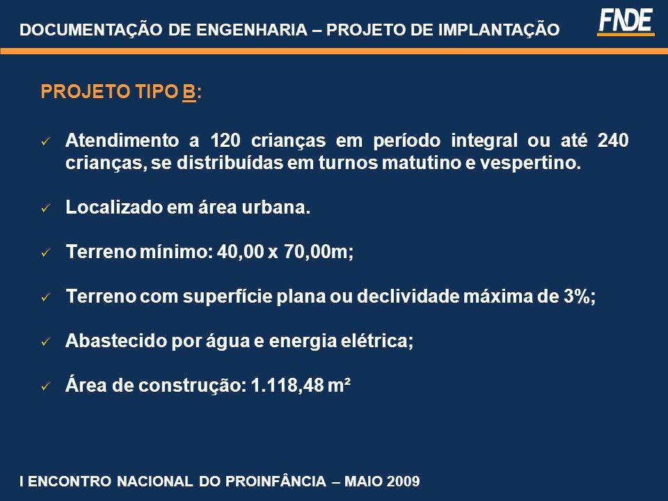 Características de Terrenos DOCUMENTAÇÃO DE ENGENHARIA – PROJETO DE IMPLANTAÇÃO I ENCONTRO NACIONAL DO PROINFÂNCIA – MAIO 2009