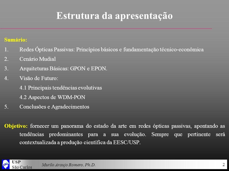USP São Carlos Murilo Araujo Romero, Ph.D. 2 Estrutura da apresentação Sumário: 1.Redes Ópticas Passivas: Princípios básicos e fundamentação técnico-e