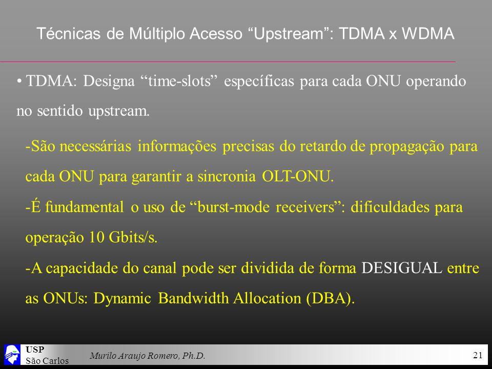 USP São Carlos Murilo Araujo Romero, Ph.D. 21 Técnicas de Múltiplo Acesso Upstream: TDMA x WDMA TDMA: Designa time-slots específicas para cada ONU ope