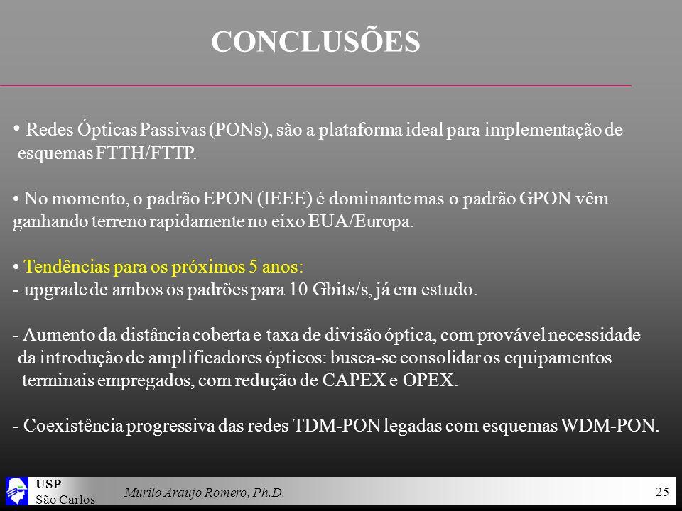 USP São Carlos Murilo Araujo Romero, Ph.D. 25 CONCLUSÕES Redes Ópticas Passivas (PONs), são a plataforma ideal para implementação de esquemas FTTH/FTT