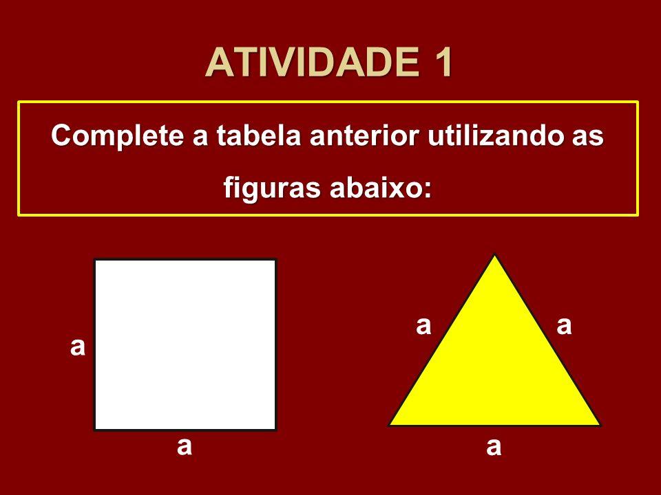 ATIVIDADE 1 Complete a tabela anterior utilizando as figuras abaixo: a a a aa