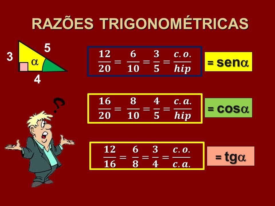 RAZÕES TRIGONOMÉTRICAS 4 3 5 = sen = sen = cos = cos = tg = tg