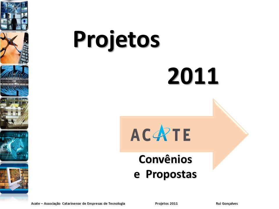 Acate – Associação Catarinense de Empresas de Tecnologia Projetos 2011 Rui Gonçalves Convênios e Propostas Projetos 2011 2011