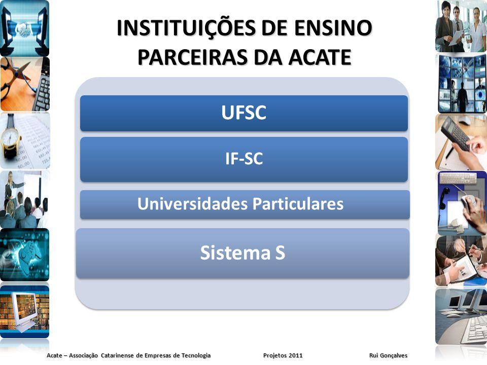 INSTITUIÇÕES DE ENSINO PARCEIRAS DA ACATE Acate – Associação Catarinense de Empresas de Tecnologia Projetos 2011 Rui Gonçalves UFSC IF-SC Universidade